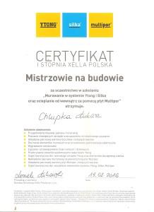Certyfikat Mistrzowie na Budowie